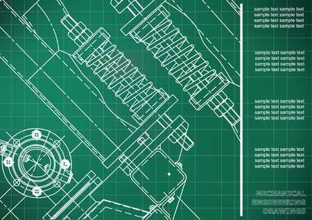 Mechanical engineering drawings. Cover, Label, Background for inscription. Corporate Identity. Light green. Grid