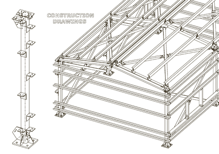 Building. Metal constructions. Volumetric constructions. 3D design. Abstract Cover, banner