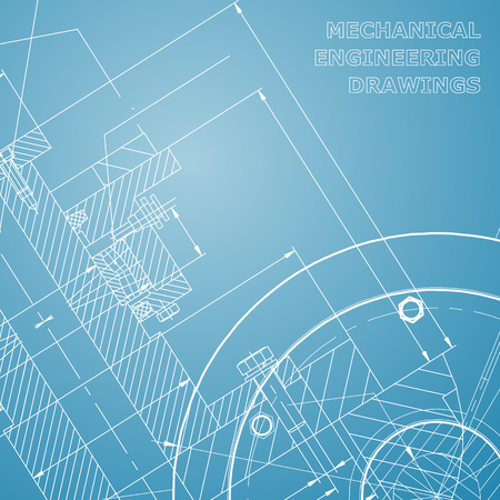 Backgrounds of engineering subjects. Technical illustration. Mechanical engineering. Technical design. Instrument making. Cover, banner, flyer. Blue and white
