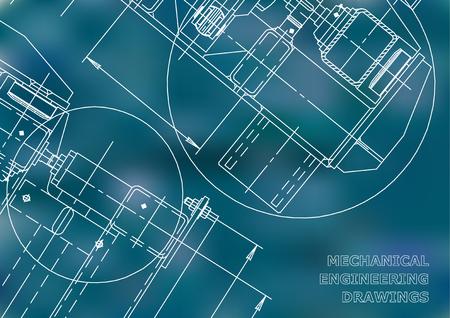 Mechanical Engineering drawing. Blueprints. Mechanics. Cover. Engineering design, instrumentation. Blue background