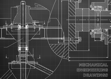 Mechanical engineering. Technical illustration. Backgrounds of engineering subjects. Technical design. Instrument making. Cover, banner, flyer. Black background. Grid