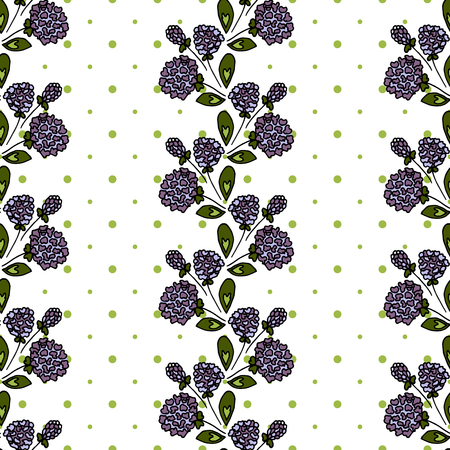 Floral seamless pattern. Lilac inflorescence. Clover. Stripes of flowers on a white background. Background in polka dots