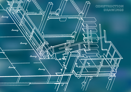 Building. Metal constructions. Volumetric constructions. 3D design. Abstract background. Blue