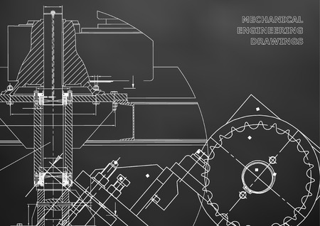 Engineering backgrounds. Mechanical engineering drawings. Cover. Technical Design. Blueprints. Black background