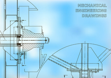 Mechanical engineering. Technical illustration. Blue and white