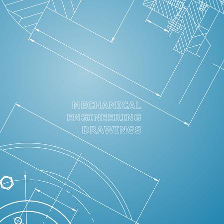 Mechanics. Technical design. Engineering style. Mechanical Corporate Identity. Blue and white Ilustração Vetorial