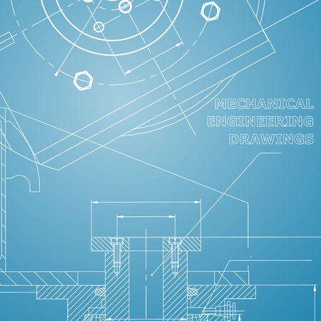 Mechanics. Technical design. Engineering style. Mechanical instrument making. Blue and white