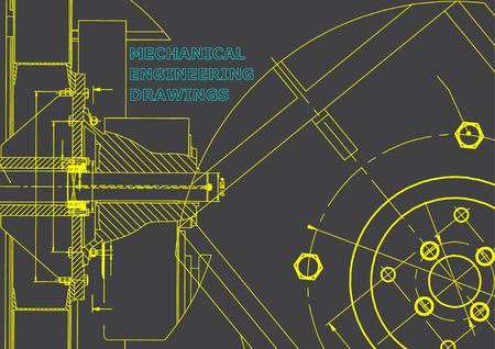 Technical illustration. Mechanical engineering. Gray