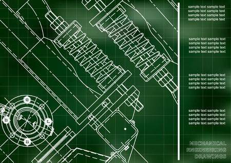 Mechanical engineering drawings. Cover, Label, Background for inscription. Corporate Identity. Green. Grid