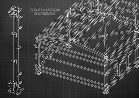 Building. Metal constructions. Volumetric constructions. 3D design. Abstract Cover, banner. Black. Grid Illustration