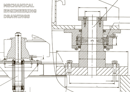 Mechanical engineering. Technical illustration. Backgrounds of engineering subjects. Technical design. Instrument making. Cover Ilustração