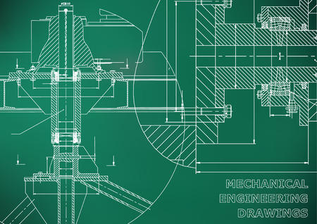 Mechanical engineering. Technical illustration. Backgrounds of engineering subjects. Technical design. Instrument making. Cover, banner, flyer. Light green background