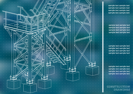 Building. Metal constructions. Volumetric constructions. 3D design. Abstract backgrounds. Cover, background, banner. Blue background. Points 矢量图像