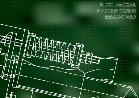 Mechanical engineering drawings. Background for inscription. Cover, Corporate Identity. Green. Points