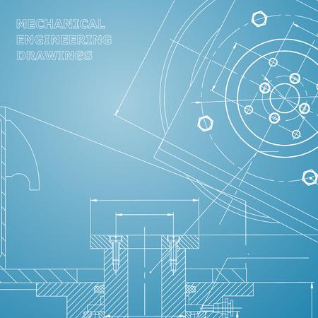 Mechanics. Technical design. Engineering style. Mechanical instrument making. Cover, flyer. Blue and white Ilustração
