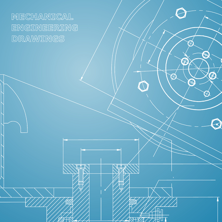 Mechanics. Technical design. Engineering style. Mechanical instrument making. Cover, flyer. Blue and white Illustration