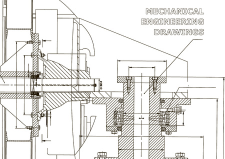 Technical illustration. Mechanical engineering. Backgrounds of engineering subjects. Technical design. Instrument making. Cover, banner, flyer Banco de Imagens - 110046124