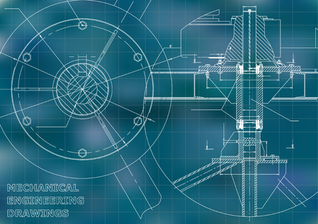 Mechanical engineering drawing. Blue background. Grid