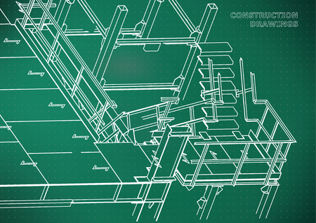 Building. Metal constructions. Volumetric constructions. 3D design. Abstract background. Light green. Points