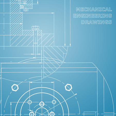 Mechanics. Technical design. Engineering style. Mechanical instrument making. Cover. Corporate Identity. Blue and white