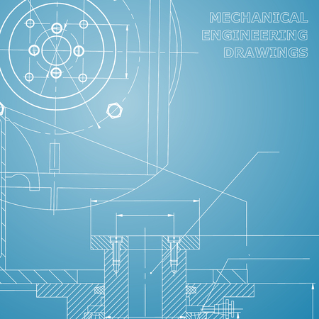 Mechanics. Technical design. Engineering style. Mechanical. Blue and white