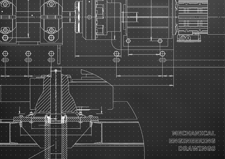 Mechanical engineering drawings. Technical Design. Engineering backgrounds. Blueprints. Black background. Points