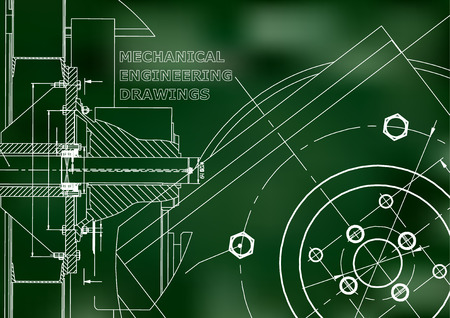 Technical illustration. Mechanical engineering. Background. Green background