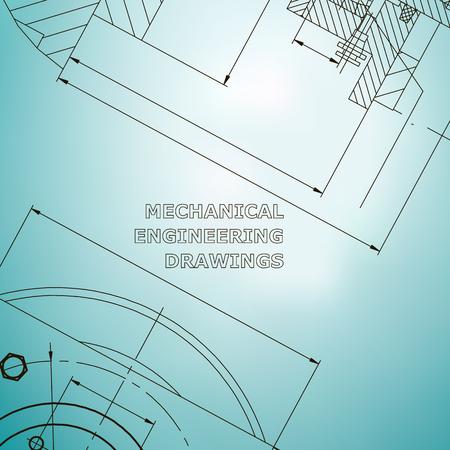 Mechanics. Technical design. Engineering style. Mechanical Corporate Identity. Light blue Illustration