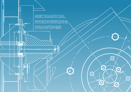 Technical illustration. Mechanical engineering. Background. Blue and white