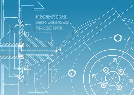 Technical illustration. Mechanical engineering. Background. Blue and white Ilustração Vetorial
