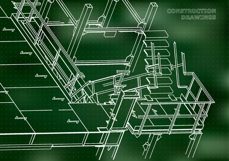 Building. Metal constructions. Volumetric constructions. 3D design. Abstract background. Green. Points