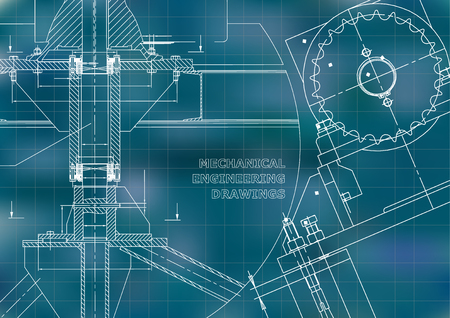 Engineering backgrounds. Technical. Mechanical engineering drawings. Blueprints. Blue. Grid