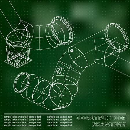 Green background. Points. Drawings of steel structures. Pipes and pipe. 3d blueprint of steel structures. Background for your design