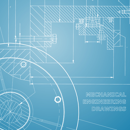 Backgrounds of engineering subjects. Technical illustration. Blue and white