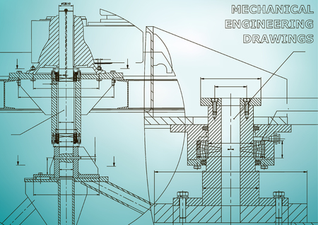 Mechanical engineering. Technical illustration. Backgrounds of engineering subjects. Technical design. Instrument making. Cover, banner, flyer, background. Light blue