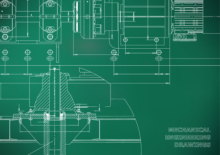 Mechanical engineering drawings. Technical Design. Engineering backgrounds. Blueprints. Light green background