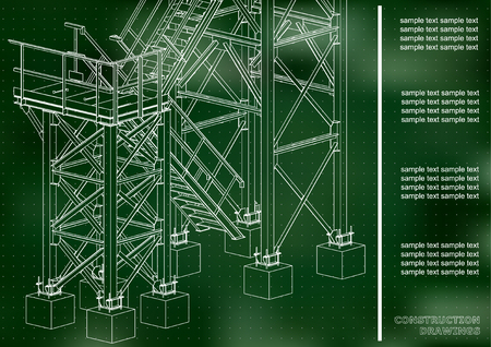 Building. Metal constructions. Volumetric constructions. 3D design. Abstract backgrounds. Cover, background, banner. Green background. Points