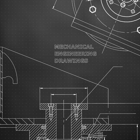 Mechanik. Technisches Design. Ingenieursstil. Mechanischer Instrumentenbau. Abdeckung. Schwarzer Hintergrund. Punkte Vektorgrafik