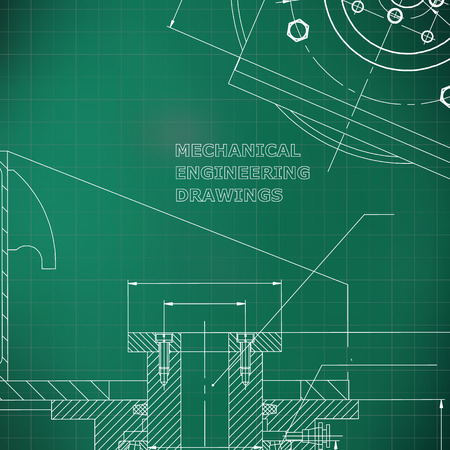 Mechanics. Technical design. Engineering style. Mechanical instrument making. Cover. Light green background. Grid