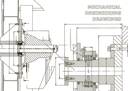 Technical illustration. Mechanical engineering. Backgrounds of engineering subjects. Technical design. Instrument making. Cover Illustration