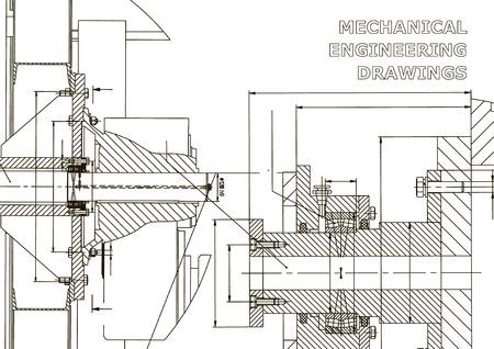 Illustrazione tecnica. Industria meccanica. Background di materie ingegneristiche. Disegno tecnico. Fabbricazione di strumenti. Copertina