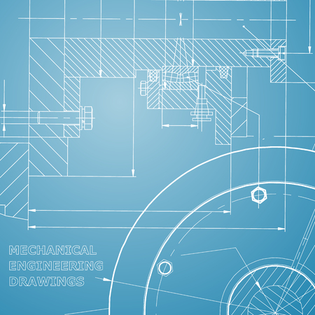 Backgrounds of engineering subjects. Technical illustration. Mechanical engineering. Technical design. Instrument making. Cover. Blue and white Illustration