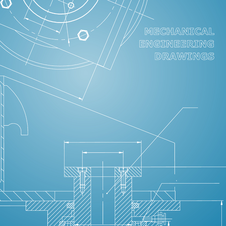 Mechanics. Technical design. Engineering style. Mechanical instrument making. Cover, flyer, banner. Corporate Identity. Blue and white
