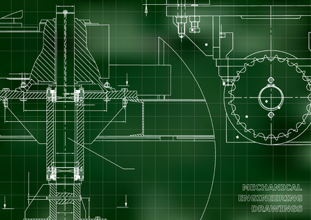 Blueprints. Mechanical engineering drawings. Cover. Banner. Technical Design. Green. Grid