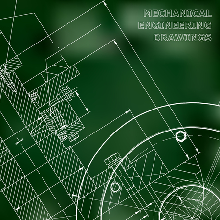 Green background. Backgrounds of engineering subjects. Technical illustration. Mechanical engineering. Technical design. Instrument making. Cover, banner, flyer