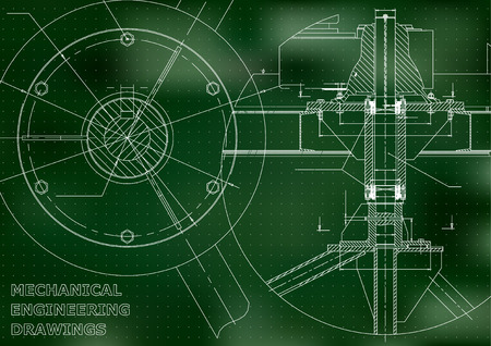 Mechanical engineering drawing. Green background. Points