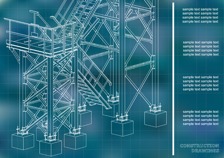 Building. Metal constructions. Volumetric constructions. 3D design. Abstract backgrounds. Cover, background, banner. Blue background. Grid