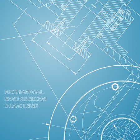 Backgrounds of engineering subjects. Technical illustration. Mechanical engineering. Technical design. Instrument making. Blue and white