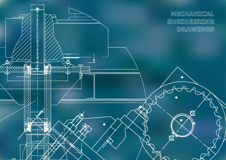 Engineering backgrounds. Mechanical engineering drawings. Cover. Technical Design. Blueprints. Blue background Illustration