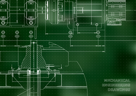 Mechanical engineering drawings. Technical Design. Engineering backgrounds. Blueprints. Green background. Points